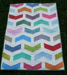 Baby Quilt Modern Chevron Blanket by SugarThreadz on Etsy