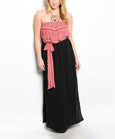Love this Black & Red Strapless Maxi Dress - Plus on #zulily! #zulilyfinds