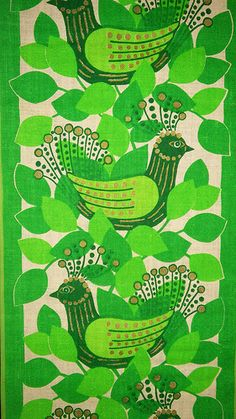 Vintage fabric, green print, birds, leaves