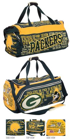 Green Bay Packers Historic NFL Duffle Bag / Nice!!  What a great way to make your statement about YOUR Pack!!