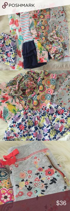 Premium Brand Girls' Spring Bundle (Size 3) Girls' spring floral lot including Tooby Doo New York, Mud Pie, and Gymborre!   All Size 3:  Gymboree butterfly dress with grosgrain bow accents;  Mud Pie modern leggings with flouncy layered leg bottoms; Baby Gap tropical bird leggings; Tooby Doo New York red, white, and blue striped dress; Flouncy lined A-line floral skirt (Target), Gray floral lounge pants with gold-zippered sides (Target).   Hope you enjoy! 😍 Keywords: Hanna Andersson…