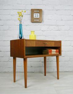 Retro Vintage Danish Teak midcentury coffee bedside table cabinet 1950s 60s