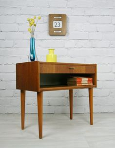 Retro Vintage Danish Teak midcentury coffee bedside table cabinet 1950s 60s