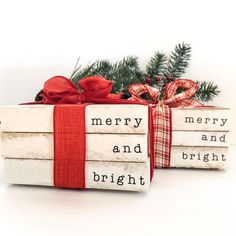 Merry and Bright Christmas Decorative Book Stack. Farmhouse Christmas Decor. Rustic Christmas Distre