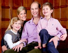 Prince Edward, Earl of Wessex and Sophie, Countess of Wessex pose for a family photograph with their children, Lady Louise Windsor and James, Viscount Severn, to mark Prince Edward's 50th birthday. (March 9, 2014)