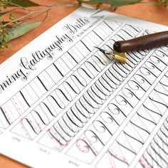 This unique calligraphy drills printable is perfect for calligraphers of all levels! It's fun and relaxing to fill out, and will give you fantastic pressure exertion and stroke practice. Print out a few copies, and fill out this drills sheet more than once!