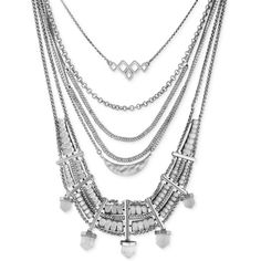 Lucky Brand Silver-Tone Quartz Accent Multi-Layer Drama Necklace ($125) ❤ liked on Polyvore featuring jewelry, necklaces, silver, multi layer chain necklace, multi layered necklace, chain necklace, quartz jewelry and statement necklace