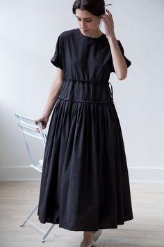 Sara Lanzi Black Poplin Pleated Dress