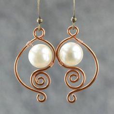 copper wiring pearl dangle earrings handmade ani designs...