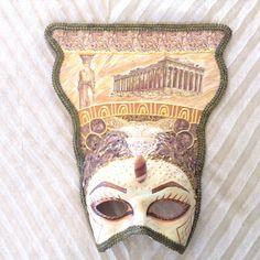 Venetian mask handmade, wearable, ancient greece mask, greek beauty, costume mask, masquerade ball, wall deco, decoupage , greek Karyatis by EthnicDrops on Etsy https://www.etsy.com/listing/467664176/venetian-mask-handmade-wearable-ancient