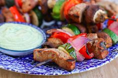 steak and veggie kabobs with creamy avacado dipping sauce