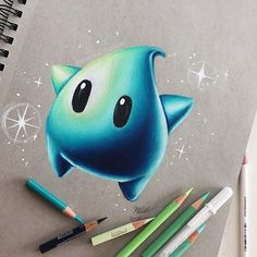 Hello Everyone here s this lil luma from mario i drew i ve drawn one before but they re so cute i wanted to draw one again haha hope Cool Art Drawings, Cute Animal Drawings, Pencil Art Drawings, Realistic Drawings, Kawaii Drawings, Art Drawings Sketches, Colorful Drawings, Disney Drawings, Drawing Ideas
