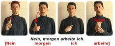 Nein, morgen arbeite ich. Sign Language, Lol, Learning, German, Learn Languages, Training, School, Acre, Interesting Facts