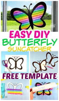 Easy and Fun DIY Spring Butterfly Sun catcher Craft - Simple Mom Project - Das . - Easy and Fun DIY Spring Butterfly Sun catcher Craft – Simple Mom Project – Das schönste Bild - Diy Spring, Spring Crafts For Kids, Summer Crafts, Diy For Kids, Summer Art, Crafts For Children, Spring Crafts For Preschoolers, Easter Crafts Kids, Crafts For Toddlers