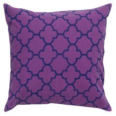 Add a pop of pattern to your sofa or loveseat with this eye-catching cotton pillow, showcasing a quatrefoil motif in purple and navy blue.     ...