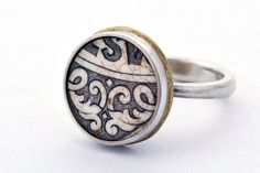 Antique Ceramic & Sterling Silver Ring by kallieGoldphish on Etsy, $85.00