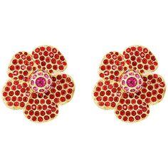 Stazia Loren Women's Flower Earrings ($1,550) ❤ liked on Polyvore featuring jewelry, earrings, gold, flower earrings, 80s earrings, oversized earrings, clip on earrings and earring jewelry