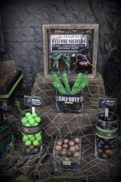 Call of Duty military birthday party candy! Have a call of duty party with mission complete gaming theater of memphis, tennesee! Army Birthday Parties, Army's Birthday, Birthday Party Decorations, Birthday Ideas, Camouflage Party, Camo Party, Army Camouflage, Xbox Party, Nerf Party