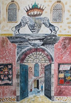 """Gateway with Lions, Strada Nova, Venice"" by Emily Sutton (watercolour)"