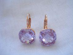 Amethyst crystal drops Crystal drop earrings Square by Poppyg
