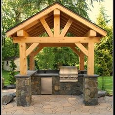 Outdoor Living - Outdoor Rooms - Outdoor Kitchens - Click image to find more DIY… Outdoor Living Rooms, Outside Living, Outdoor Spaces, Outdoor Decor, Rustic Outdoor, Outdoor Cooking, Outdoor Entertaining, Outdoor Kitchen Design, Outdoor Kitchens
