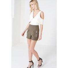Khaki Cargo Pocket High Waist Shorts