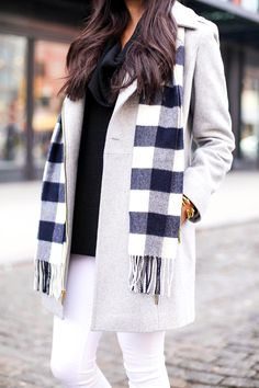 grey coat + plaid scarf