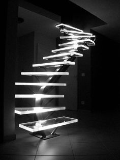 LED lighted acrylic stairs
