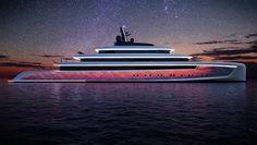 moonstone, from van geest design alongside + advanced lighting design and oceanco, illuminated the dubai international boat show Ocean At Night, Yacht Cruises, Classic Yachts, Sky Full Of Stars, Below Deck, Futuristic Art, Yacht Boat, Yacht Design, Super Yachts