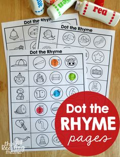 Free Rhyming Worksheets! Great preschool or kindergarten literacy center. Dot the rhyme!