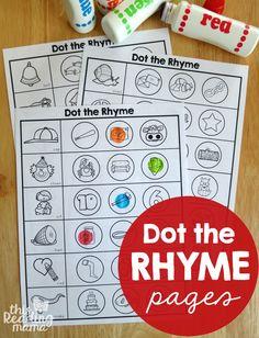 Free Rhyming Worksheets! Great preschool or kindergarten literacy center. Dot the rhyme!