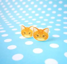 Ginger Cat Stud Earrings £6.00 #folksyfriday