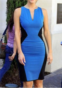 Clearance Beautiful Fashion Europe Spring Sexy V-Neck Evening Dress Package Hip Slim Sleeveless Dress