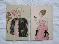 Vintage Postcards, Black Women, Pink Ladies, Art Deco, Lady, Rose, Artist, Vintage Travel Postcards, Pink