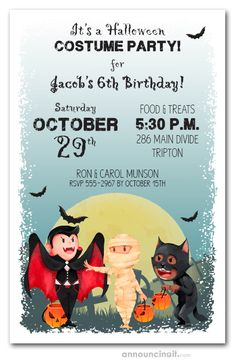 A full moon and flying black bats light the way for a little vampire, mummy and werewolf to trick or treat. Perfect design for Halloween party invitations or Halloween birthday invitations for creatures and witches of all ages. Halloween Theme Birthday, Halloween Birthday Party Invitations, Zombie Birthday Parties, Halloween Party Invitations, Halloween Party Costumes, Halloween Party Decor, Halloween Kids, Birthday Party Themes, Children Games