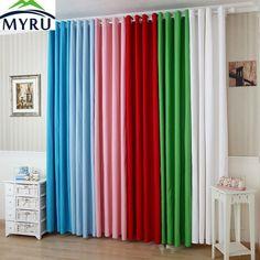 MYRU Nueva tela de lona de color sólido cortinas semi-sombra cortinas de la ventana cortina blanca verde rosa cortina cortina de la sala de estar