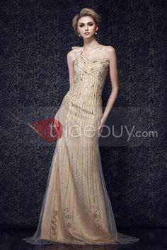 マーメイドワンショルダービーズオーガンザイブニングドレス