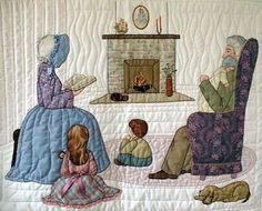 "#11 ""Daily Living Activities for the Bonnet Girls"" Story Time Pattern $13.50. Grandma reads to Hayden and Morgan in front of the fireplace while Grandpa holds the baby. Shadow appliqué defines the wall and floor rug. The dog sleeps beside the chair. Embroidery is used to accent the fireplace."