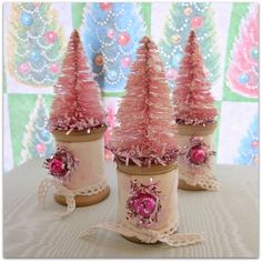 Pink colored bottle brush tree on pink flocked wallpaper covered spool Tree Crafts, Valentine Crafts, Christmas Projects, Holiday Crafts, Kid Projects, Shabby Chic Christmas, Pink Christmas, Victorian Christmas, Wooden Spool Crafts