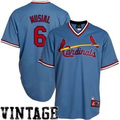 Majestic Stan Musial St. Louis Cardinals Cooperstown Throwback Replica Jersey - Light Blue