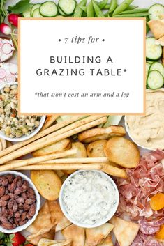Easy tips on creating a beautiful grazing table that will wow your party guests. With a grazing table, party prep is fun again and the pressure is off—because there are no recipes, rules or forgotton ingredients. Charcuterie And Cheese Board, Charcuterie Platter, Cheese Boards, Appetizers For Party, Appetizer Recipes, Grazing Platter Ideas, Diy Dessert, Tapas, Party Food Platters