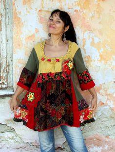 L Fall roses garden recycled crochet top dress tunic hippie boho