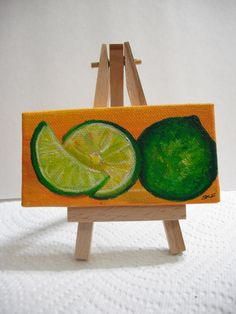 Limes on Orange Mini Painting on canvas by SharonFosterArt on Etsy, $18.00