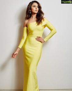 Actress Rakul Preet Singh Photo Shoot In Yellow Dress - Rakul Preet Singh Bollywood Celebrities, Bollywood Fashion, Bollywood Actress, Tamil Actress, Strapless Dress Formal, Formal Dresses, Indian Girls, Yellow Dress, Indian Dresses