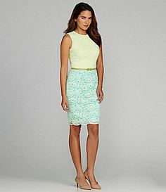 aba12515e16 Maggy London Lace Colorblock Dress- www.dillards.com Spring Fashion for  ladies  ladiesfashion. Stephanie Fullmer · Cute outfits