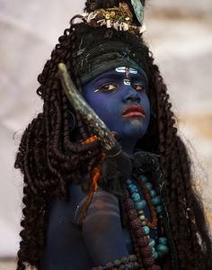 Dressed as lord Shiva . Pushkar Rajasthan