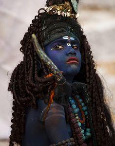 Dressed as lord Shiva . Pushkar Rajasthan