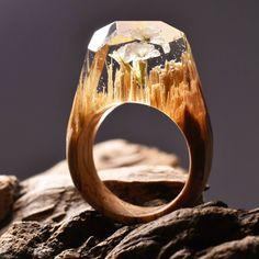 secret wood ring em resina de poliéster e madeira #ring #anel #acessório