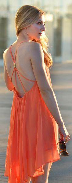 Gorgeous coral light summer mini dress