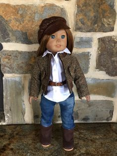 Brown herringbone lined jacket by lollipaisley on Etsy. Made with the Bomber Jacket pattern. Get it at http://www.pixiefaire.com/products/bomber-jacket-18-doll-clothes. #pixiefaire #bomberjacket